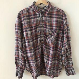 Billy Reid plaid snap Pearl button shirt